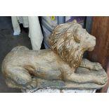 Vintage Reconstituted Stone Lion Garden Statue