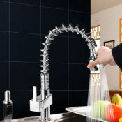 Maddie Brushed Chrome Monobloc Kitchen Tap Swivel Pull Out Spray Mixer. RRP £219.99. Material:...