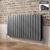 600x1210mm Anthracite Double Flat Panel Horizontal Radiator. RRP £639.99.RC228.Made with low...