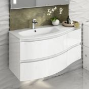 1040mm Amelie High Gloss White Curved Vanity Unit - Left Hand - Wall Hung. RRP £1,499.COMES ...