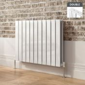 600x830mm Gloss White Double Flat Panel Horizontal Radiator. RRP £474.99.RC221.Made with high...