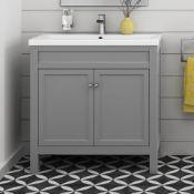 800mm Melbourne Earl Grey Double Door Vanity Unit - Floor Standing RRP £849.99. COMES COMPLETE...