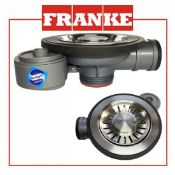 (FR37) NEW Franke Low Pr Waste Semi Int + Overflow. The Franke Kitchen Sink 90mm Basket Straine...