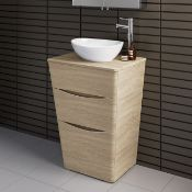 NEW & BOXED 600mm Countertop Vanity Unit & Modern Basin Oak Effect - Floor Standing . RRP £849...