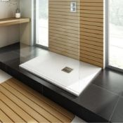 NEW 1000x800mm Rectangular White Slate Effect Shower Tray & Chrome Waste. RRP £549.99.Hand cra...