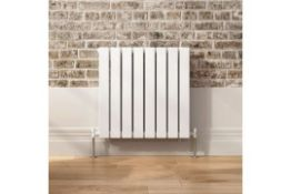 NEW & BOXED 600x600mm Gloss White Double Flat Panel Horizontal Radiator - Premium. RRP £564.9...