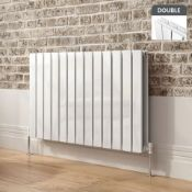 NEW & BOXED 600x980mm Gloss White Double Flat Panel Horizontal Radiator - Premium. RRP £674.99...