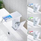 NEW & BOXED WHITE LED Waterfall Bathroom Basin Mixer Tap. RRP £229.99.Easy to install and clea...