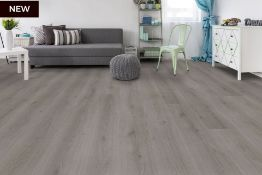 NEW 6.36m2 WILD DOVE OAK LAMINATE FLOORING . The elegant mid-grey hue of this floor complements...
