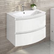 NEW & BOXED 700mm Amelie High Gloss White Curved Vanity Unit - Wall Hung. Comes complete with b...