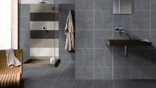 NEW 7.1m2 Porland Marengo Grey Wall and Floor Tiles. 450x450mm Per Tile, 8.8mm Thick. Industr...