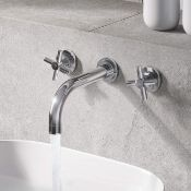 Brand New Austin Crosshead Chrome Wall Mounted Sink Mixer. TB5000 RRP £169.99.Luxurious sleek Chrome