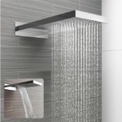NEW & BOXED (EW156) Stainless Steel 230x500mm Waterfall Shower Head. RRP £374.99. Dual functio...