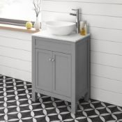 NEW & BOXED 600mm Melbourne Earl Grey Stone Countertop Unit & Camila Sink - Floor Standing. RR...