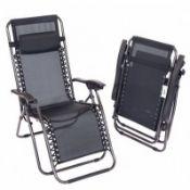 2 x BRAND NEW BOXED LUXE Folding Reclining Garden Deck Chair Sun Lounger Zero Gravity Experienc...