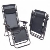 PALLET TO CONTAIN 20 x BRAND NEW BOXED LUXE Folding Reclining Garden Deck Chair Sun Lounger Zer...