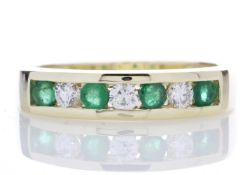 9ct Yellow Gold Channel Set Semi Eternity Diamond And Emerald Ring 0.25 Carats