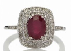 9ct White Gold Oval Ruby And Diamond Cluster Diamond Ring 0.33 Carats