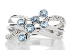 9ct White Gold Fancy Cluster Diamond And Blue Topaz Ring