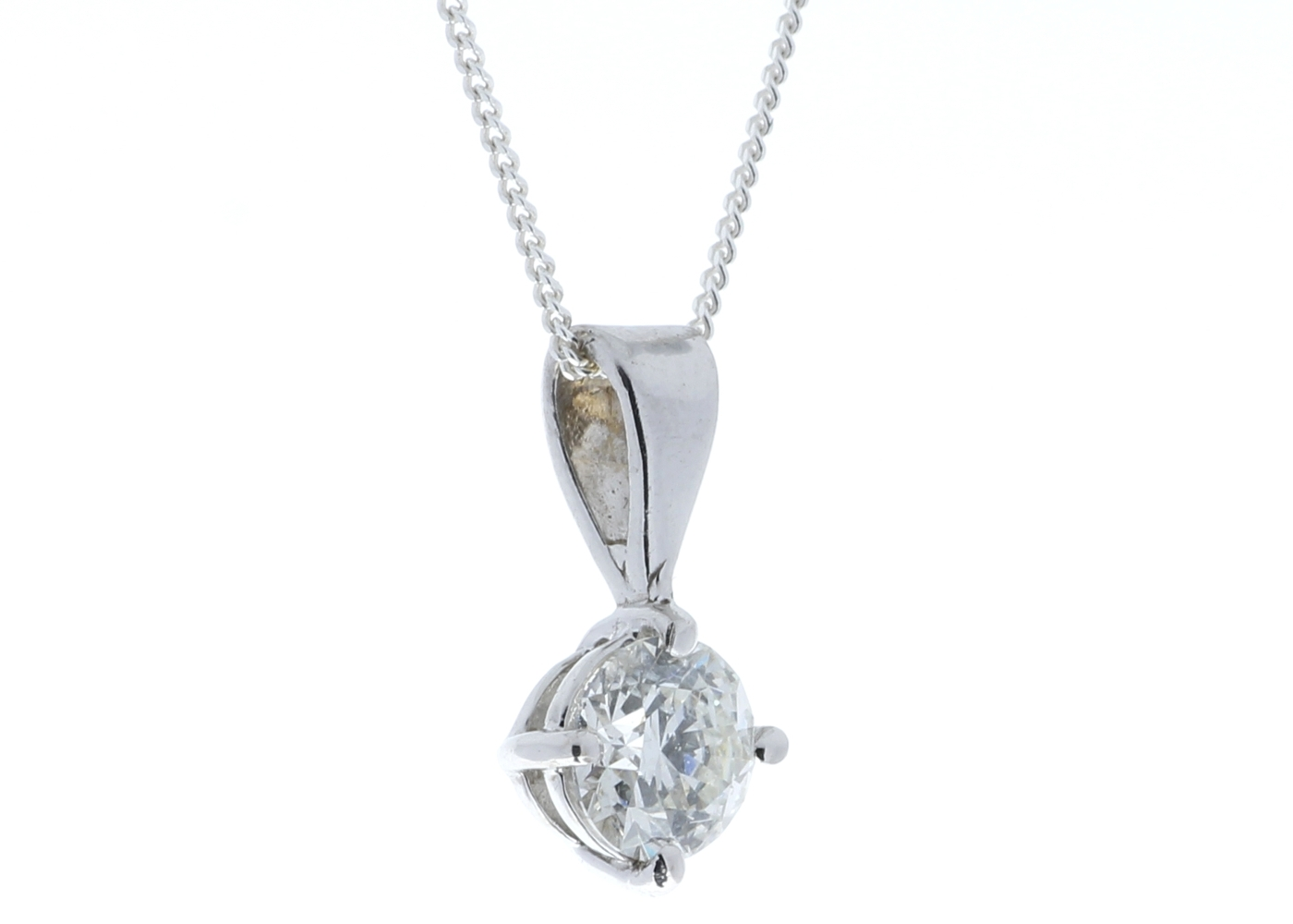 Lot 34 - 18ct White Gold Wire Set Diamond Pendant 0.70 Carats