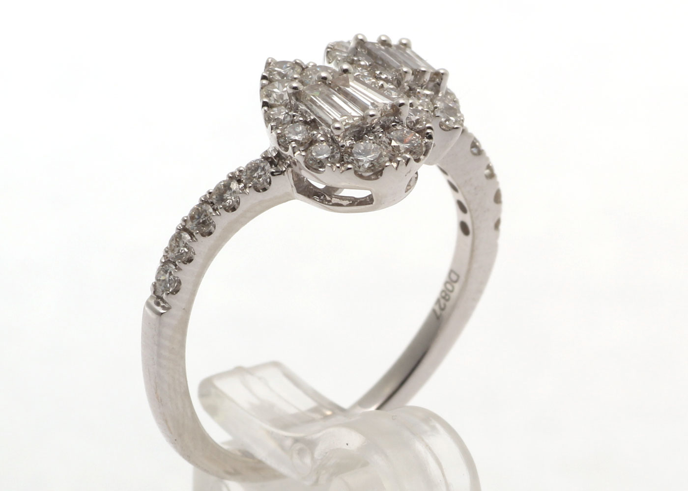 Lot 28 - 18ct White Gold Double Pear Shape Cluster Diamond Ring 0.83 Carats