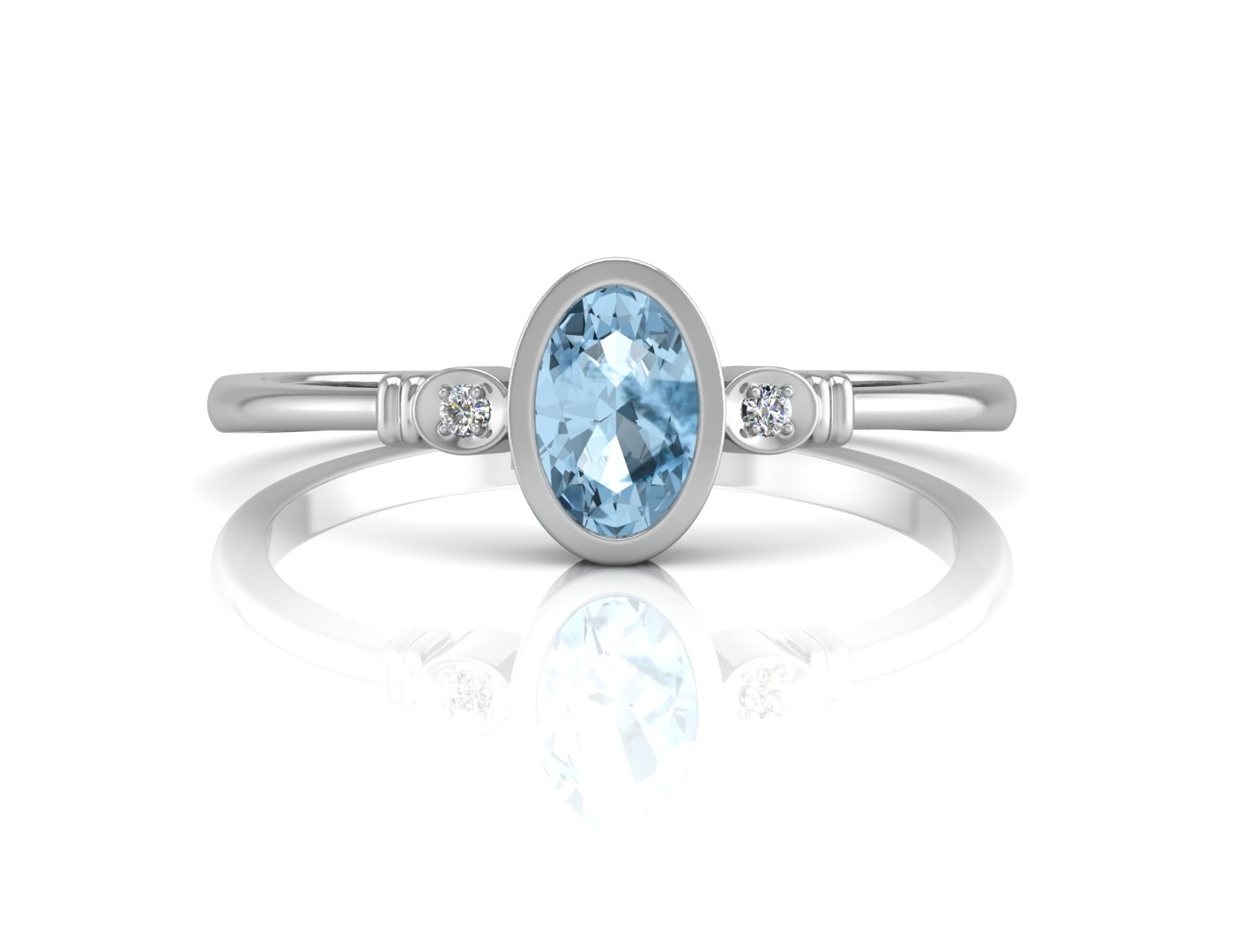 Lot 47 - 9ct White Gold Diamond And Oval Shape Blue Topaz Ring