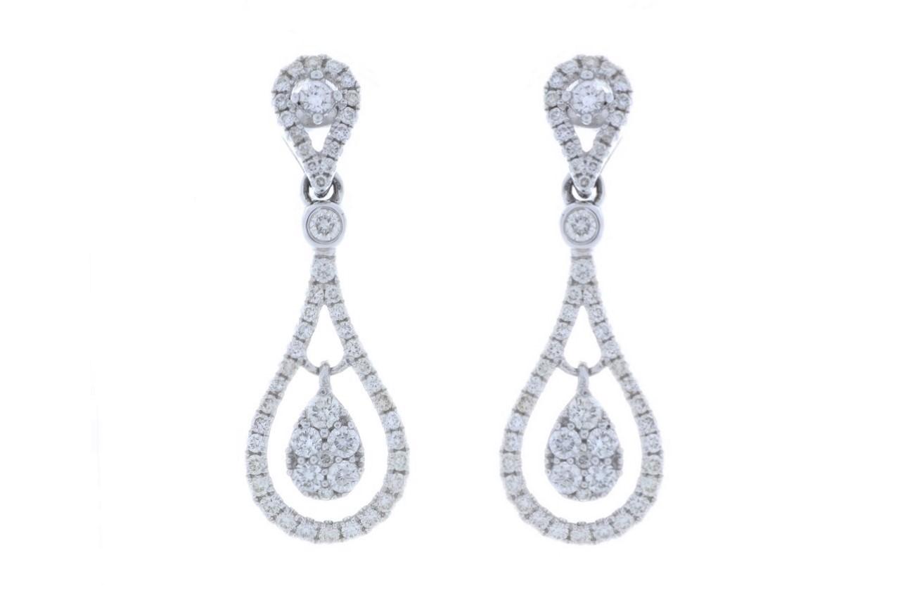 Lot 33 - 18ct White Gold Diamond Drop Earring 1.00 Carats