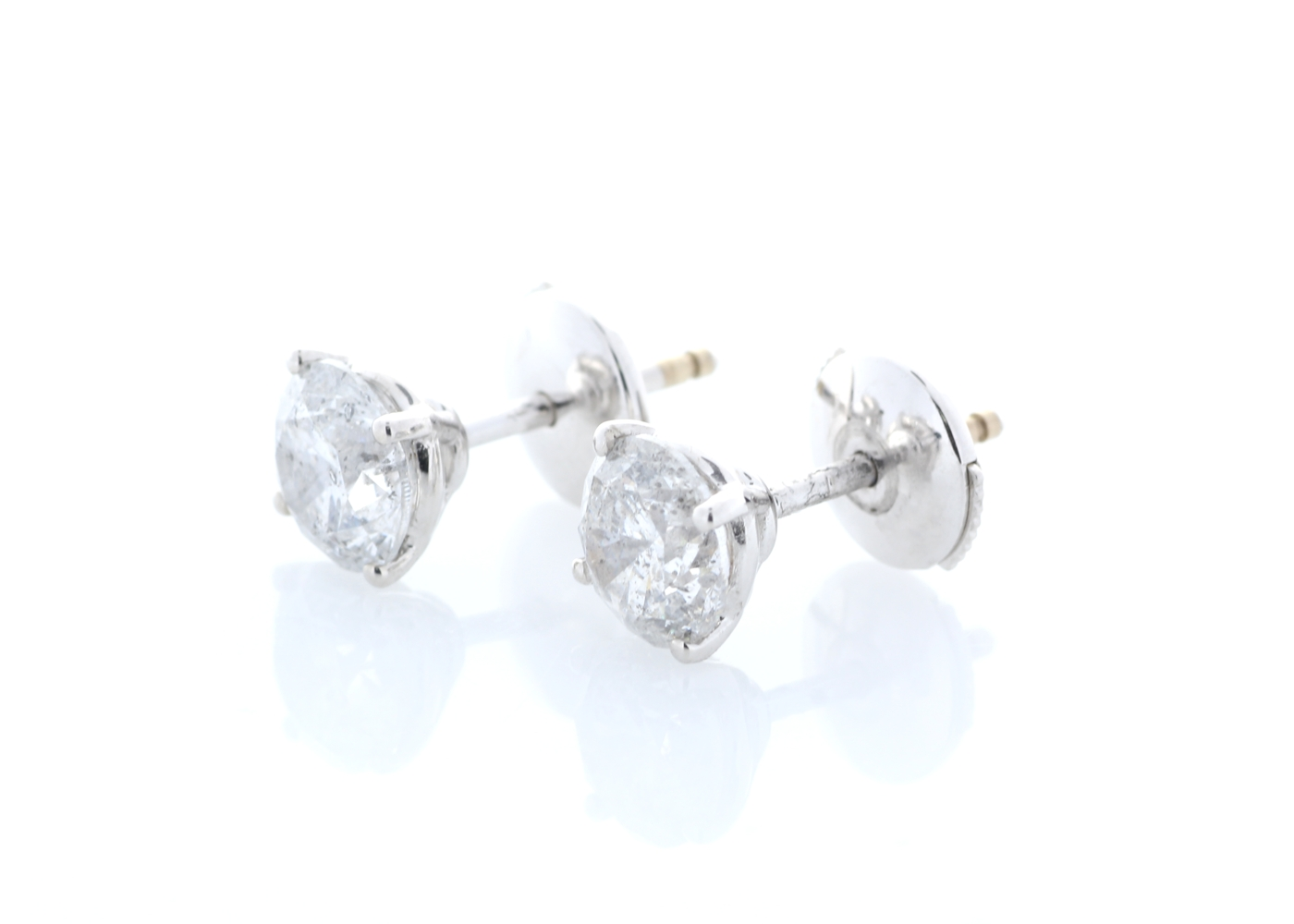 Lot 30 - 18ct White Gold Claw Set Diamond Earrings 2.36 Carats