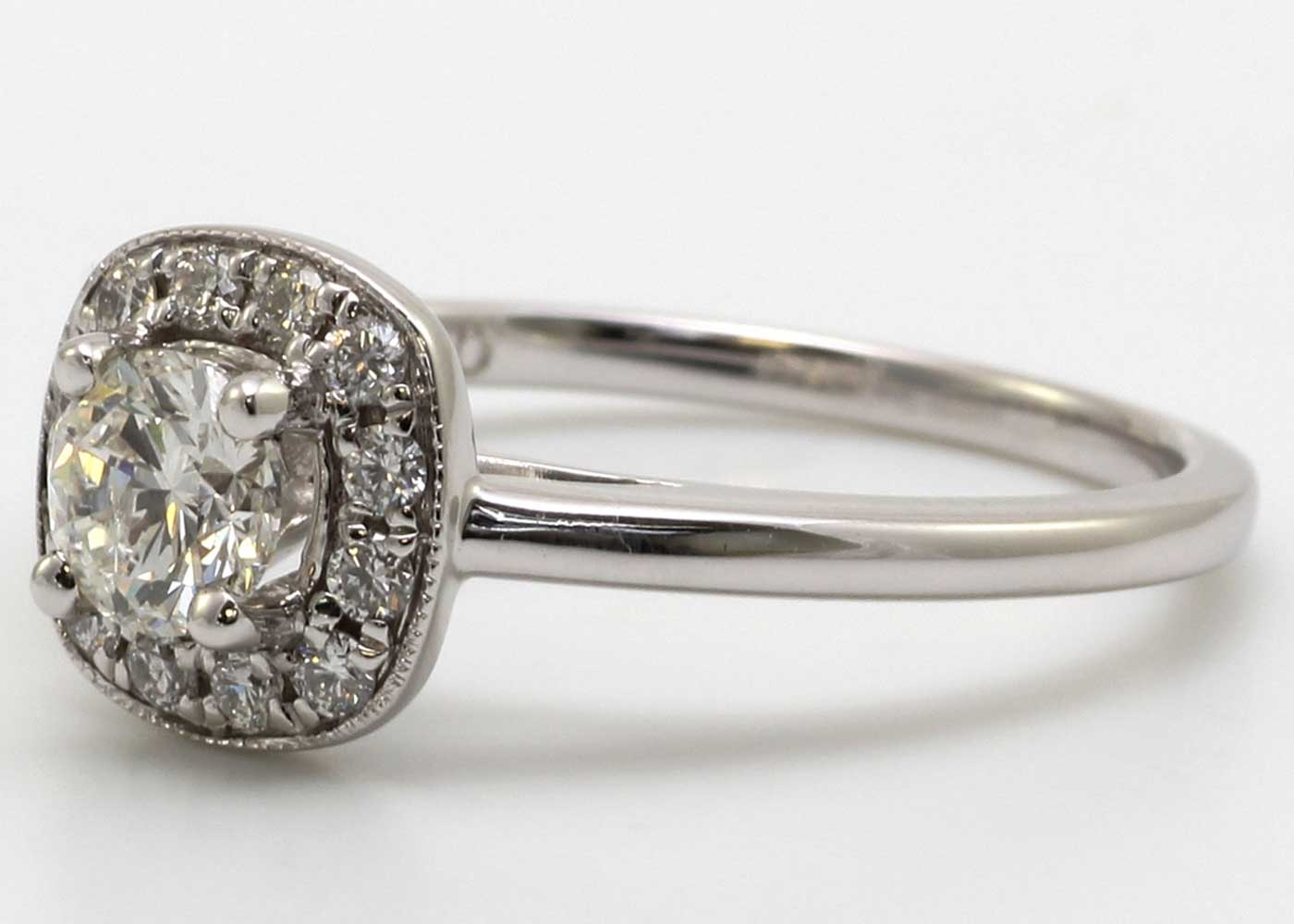 Lot 21 - 18ct White Gold Diamond Ring With Halo Setting 0.69 Carats
