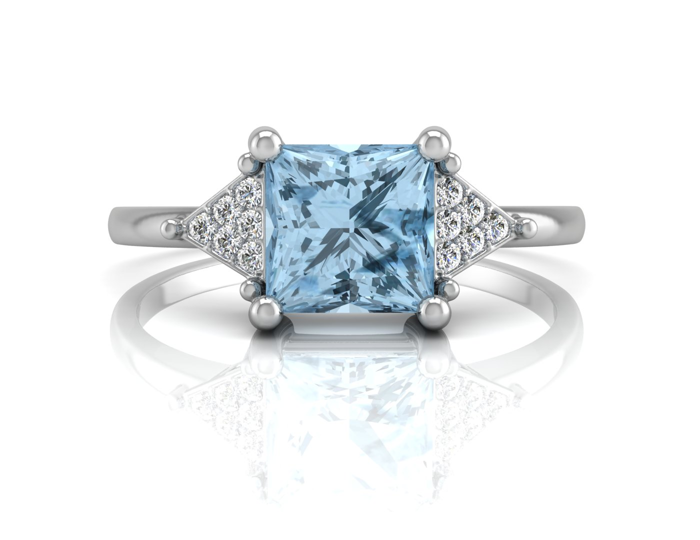 Lot 51 - 9ct White Gold Diamond And Blue Topaz Ring