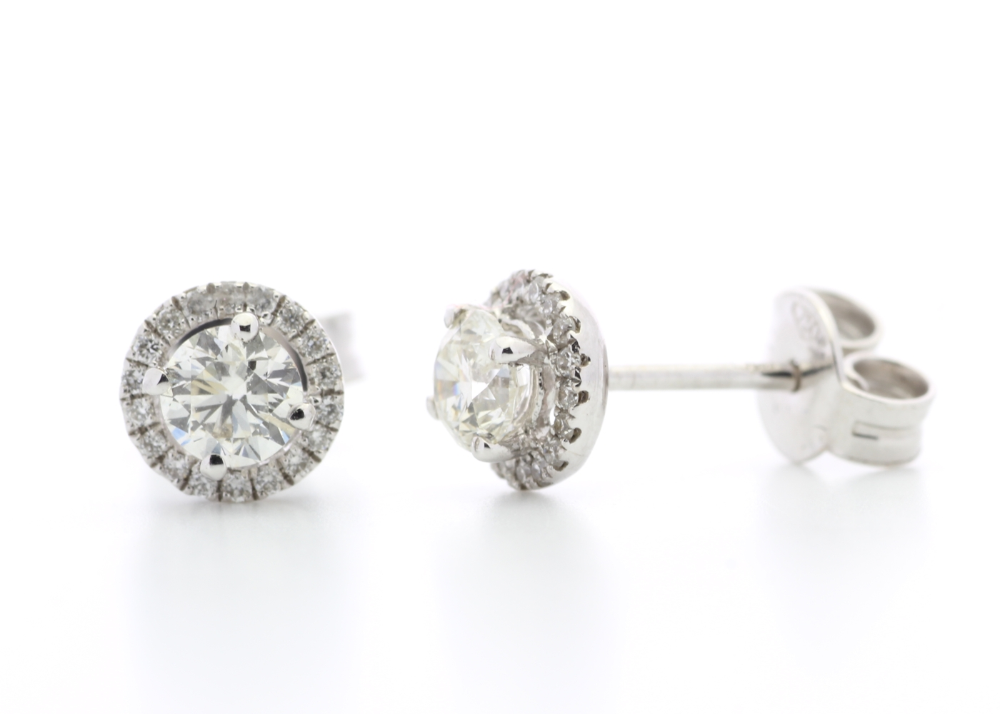 Lot 32 - 18ct White Gold Halo Set Earrings 0.65 Carats