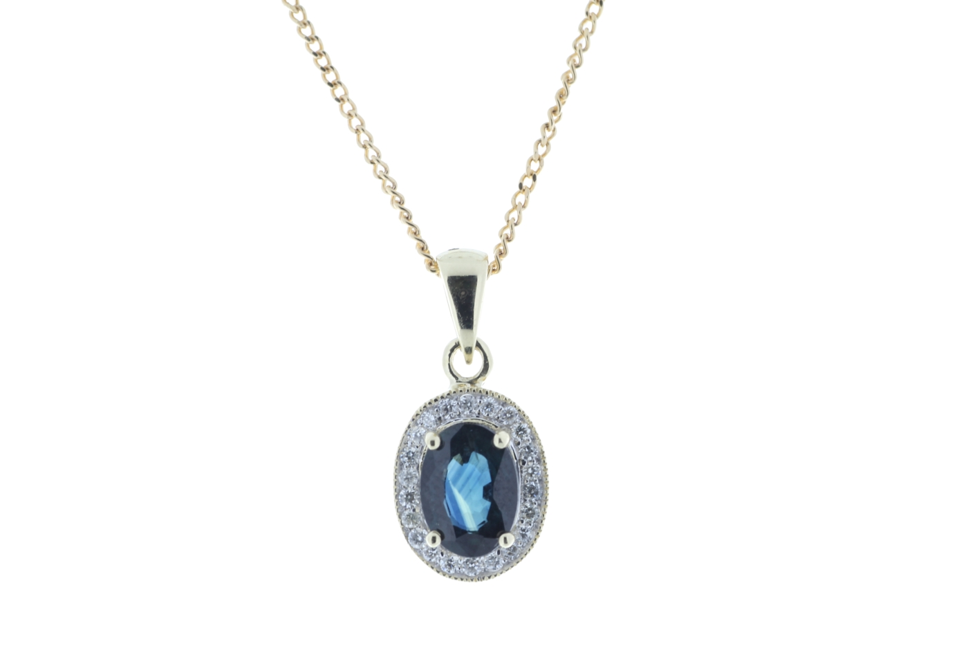 Lot 46 - 9ct Yellow Gold Diamond And Sapphire Pendant 0.11 Carats