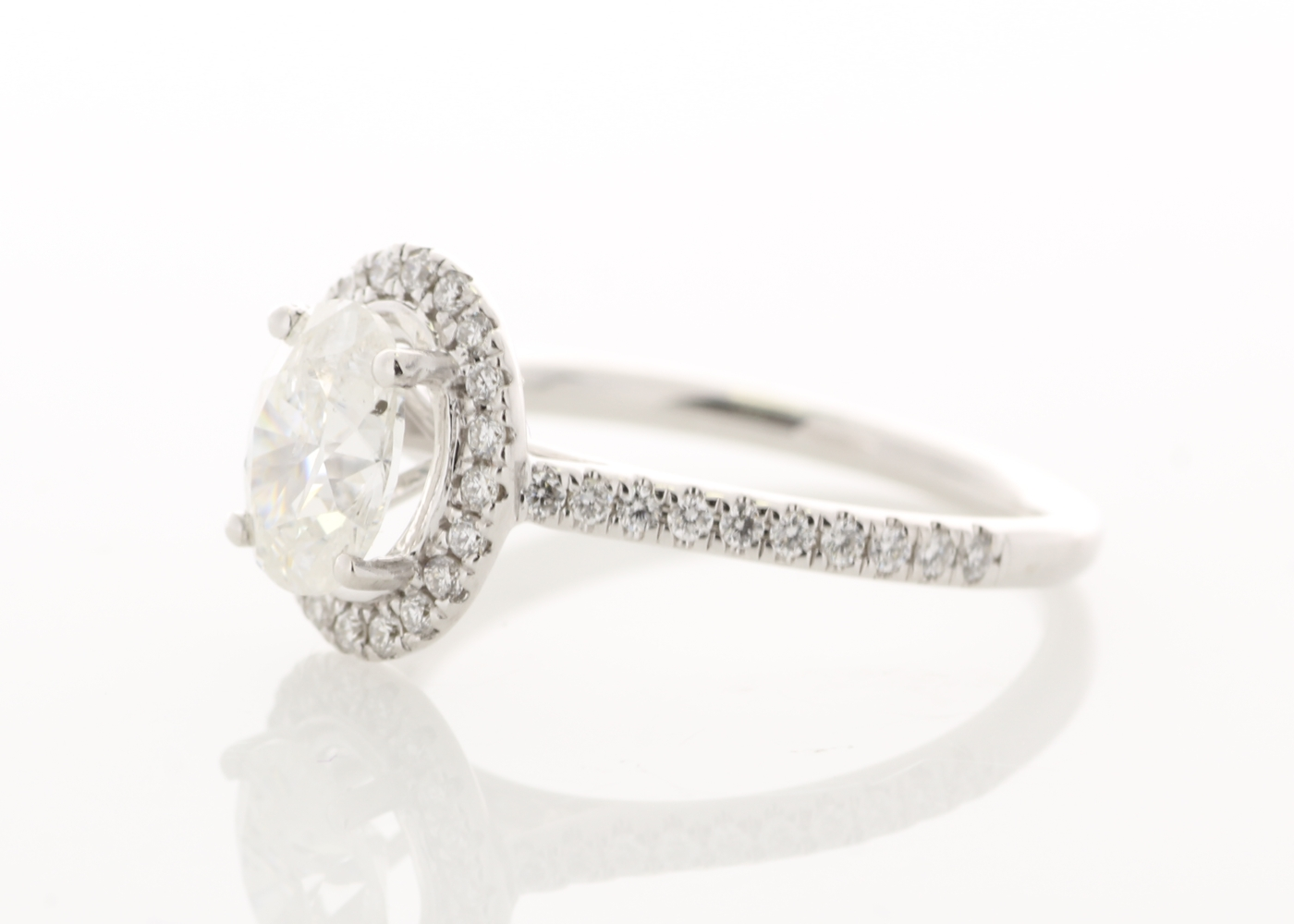 Lot 23 - 18ct White Gold Halo Set Ring 1.28 Carats