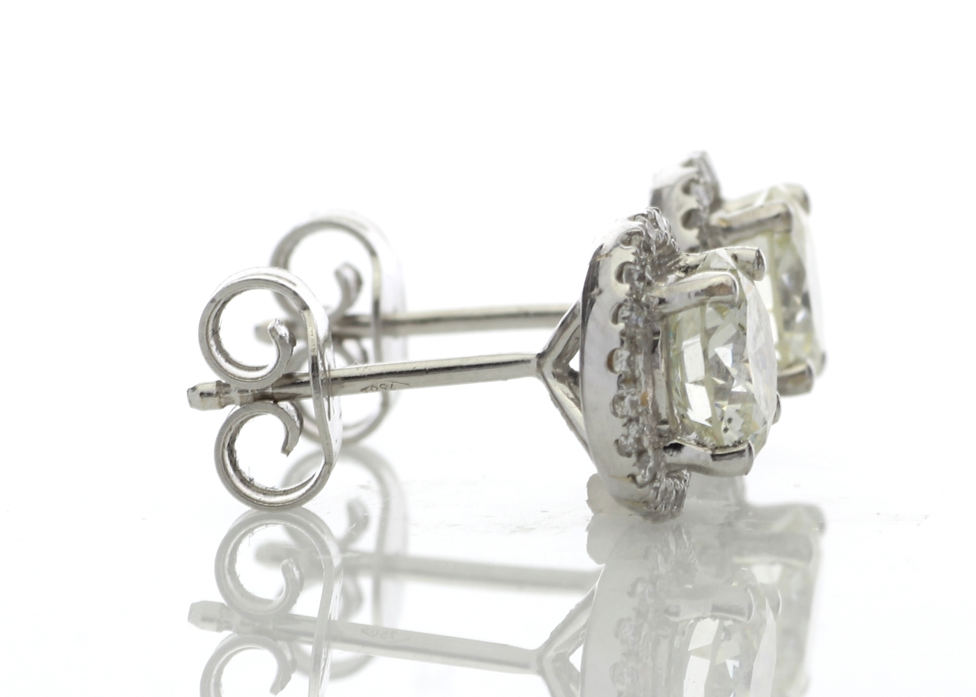 Lot 31 - 18ct White Gold Halo Set Earrings 2.26 Carats