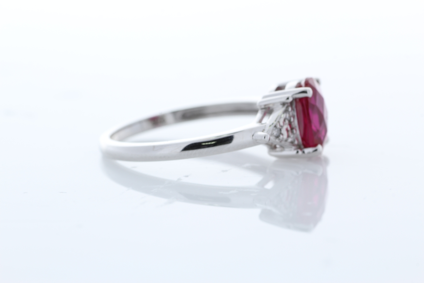 Lot 59 - 9ct White Gold Fancy Cluster Diamond And Created Ruby Ring