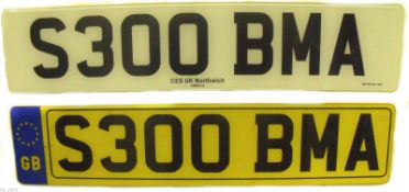 S300 BMA Cherished Private Personalised Number Plate on Retention Ideal Gift