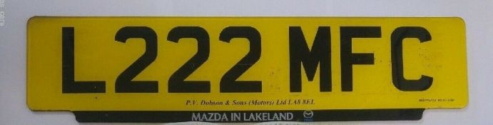L222 MFC Cherished Private Personalised Number Plate on Retention Ideal Gift