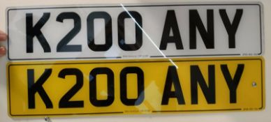 K200 ANY Cherished Private Personalised Number Plate on Retention Ideal Gift
