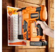 (JH13) Cordless Nail & Staple Gun Features smooth action trigger switch, two firing modes, dep...