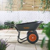 (JH1) 78L Wheelbarrow – Two Wheeled Pneumatic Tyre Heavy Duty Garden Tool/Waste Transportati...