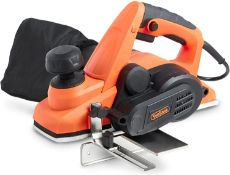 (JH4) 900W Planer with 82 X 3mm Planing Width, Guide & Dust Bag Includes Extra Set of Blades. D...