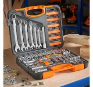 (JH15) 104pc Socket Set High quality tempered carbon steel with chrome vanadium on selected pa...