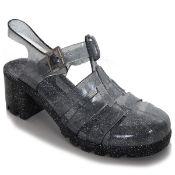 Girls Kids Childrens Black Glitter Jelly Gladiator Sandals