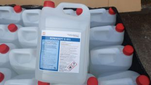 Ten (10X) 5L Bottles Of Anti Bacterial Hand Sanitizer Gel - Over 70% Alcohol