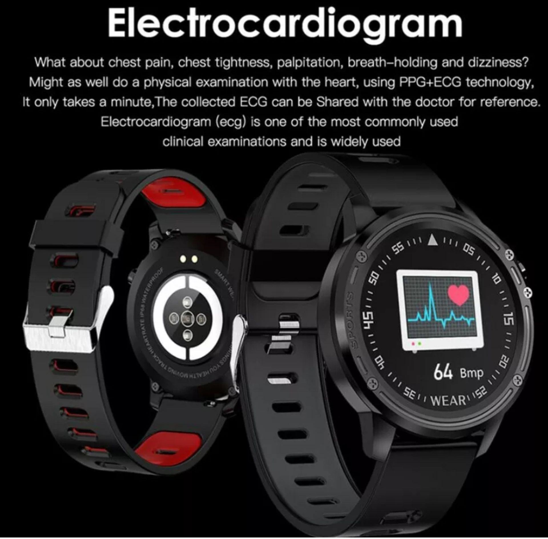 Lot 156 - L8 Blood Pressure, Oxygen, Heart Rate Monitor, Bt4.0 Ip68 Smart Watch - Grey/Black Strap