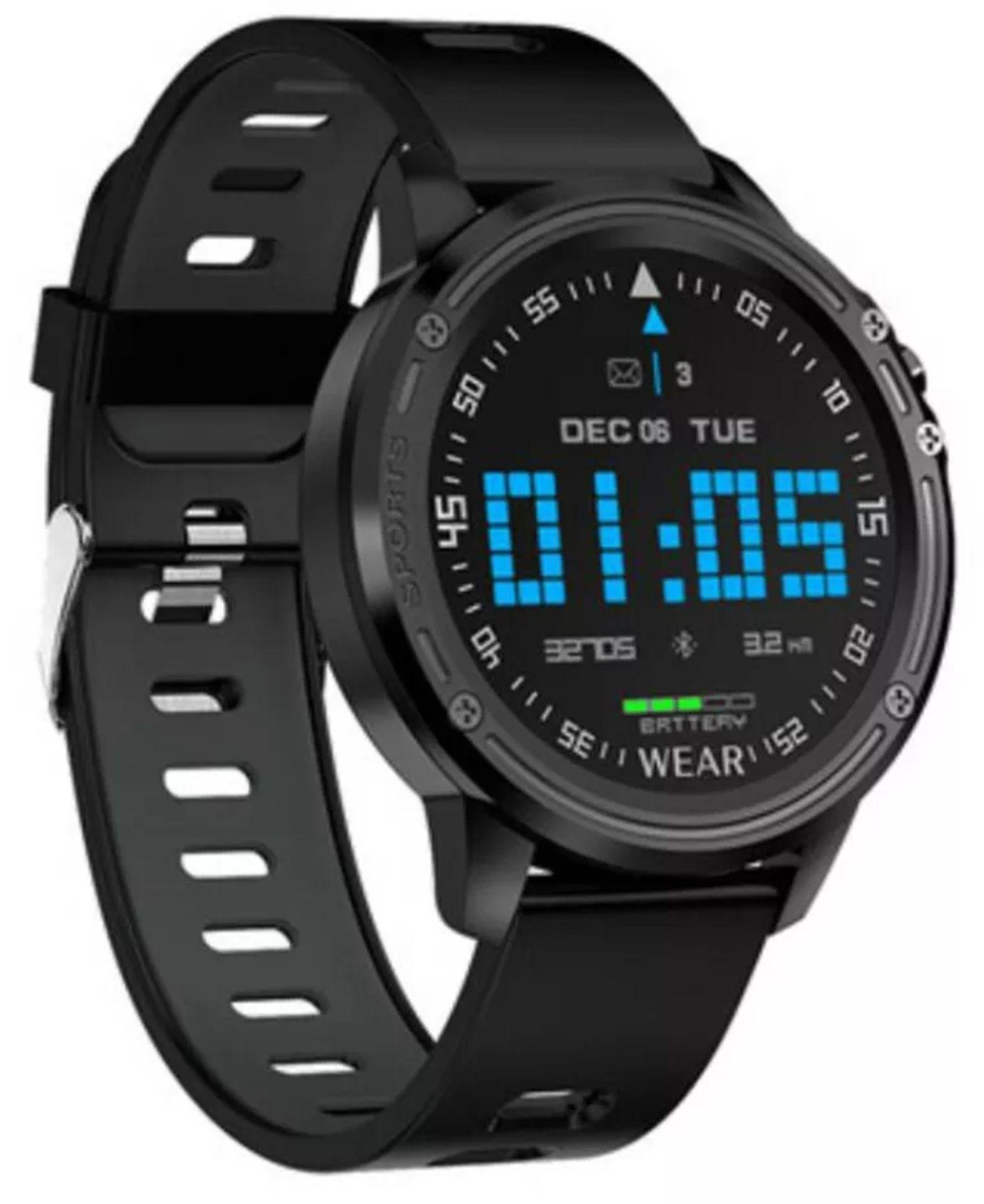 Lot 162 - L8 Smart Watch Blood Pressure Heart Rate Smart Bracelet Fitness Tracker, Red/ Black Strap
