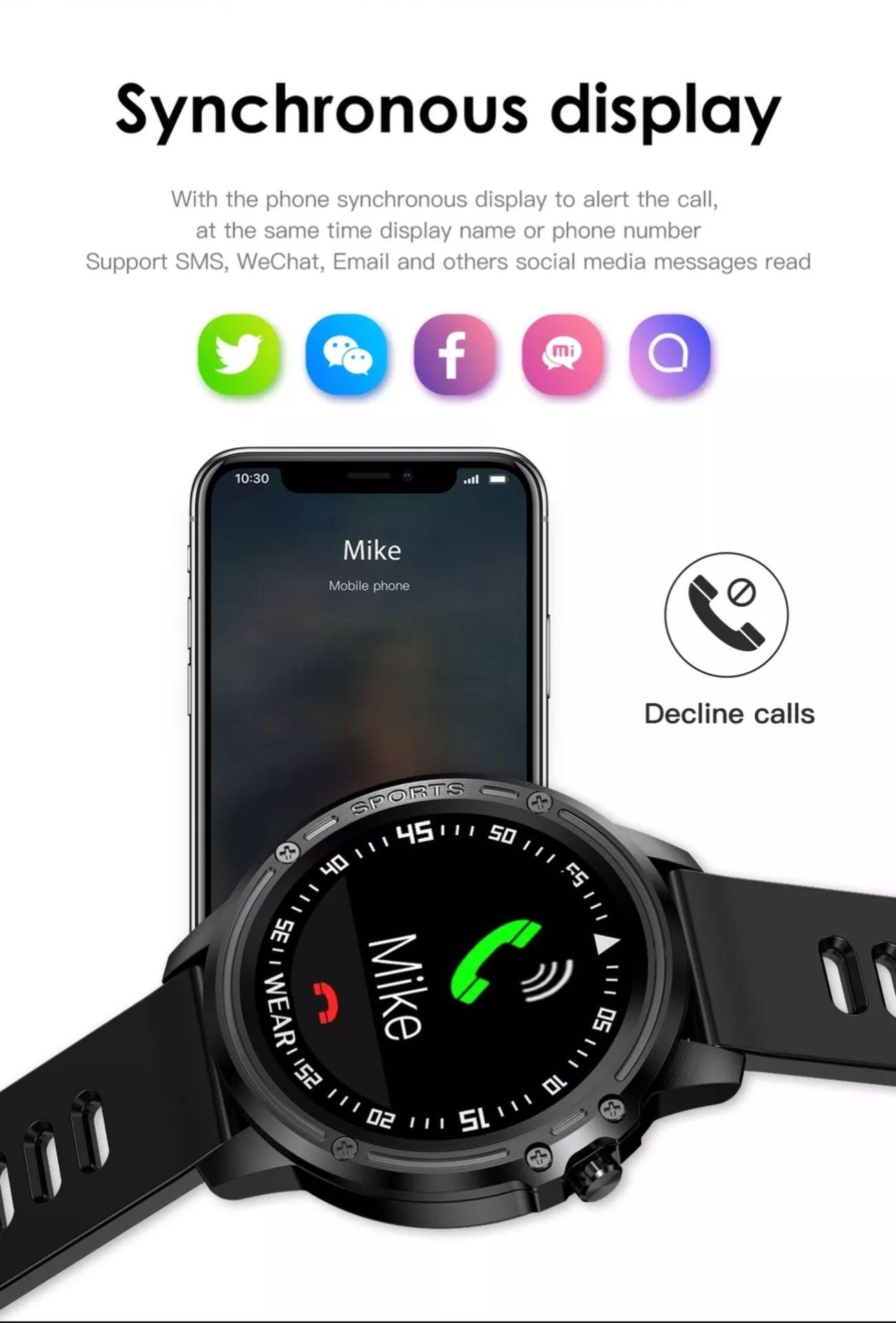Lot 159 - L8 Smart Watch Blood Pressure Heart Rate Smart Bracelet Fitness Tracker, Red/ Black Strap