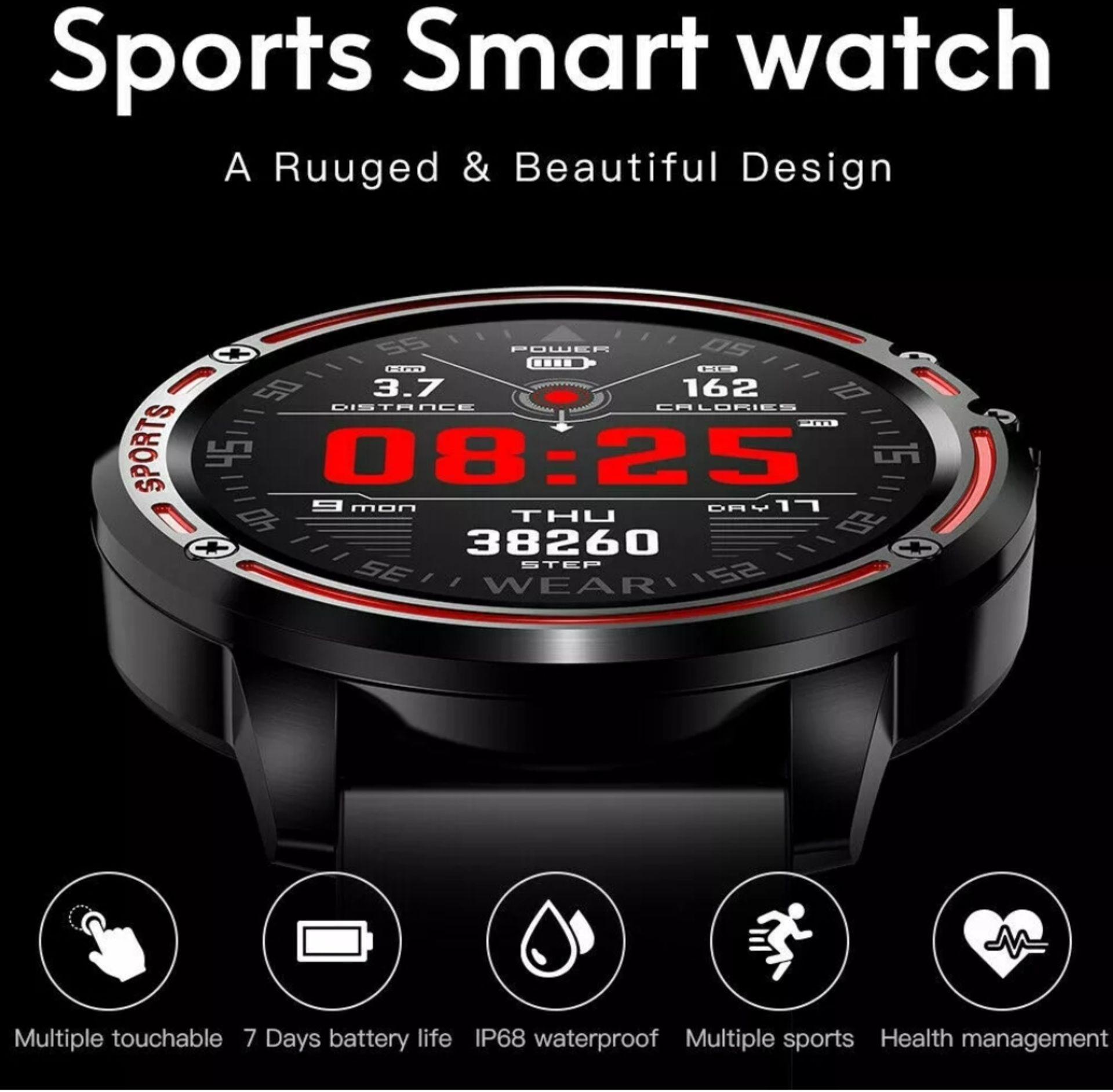 Lot 160 - L8 Smart Watch Blood Pressure Heart Rate Smart Bracelet Fitness Tracker, Red/ Black Strap