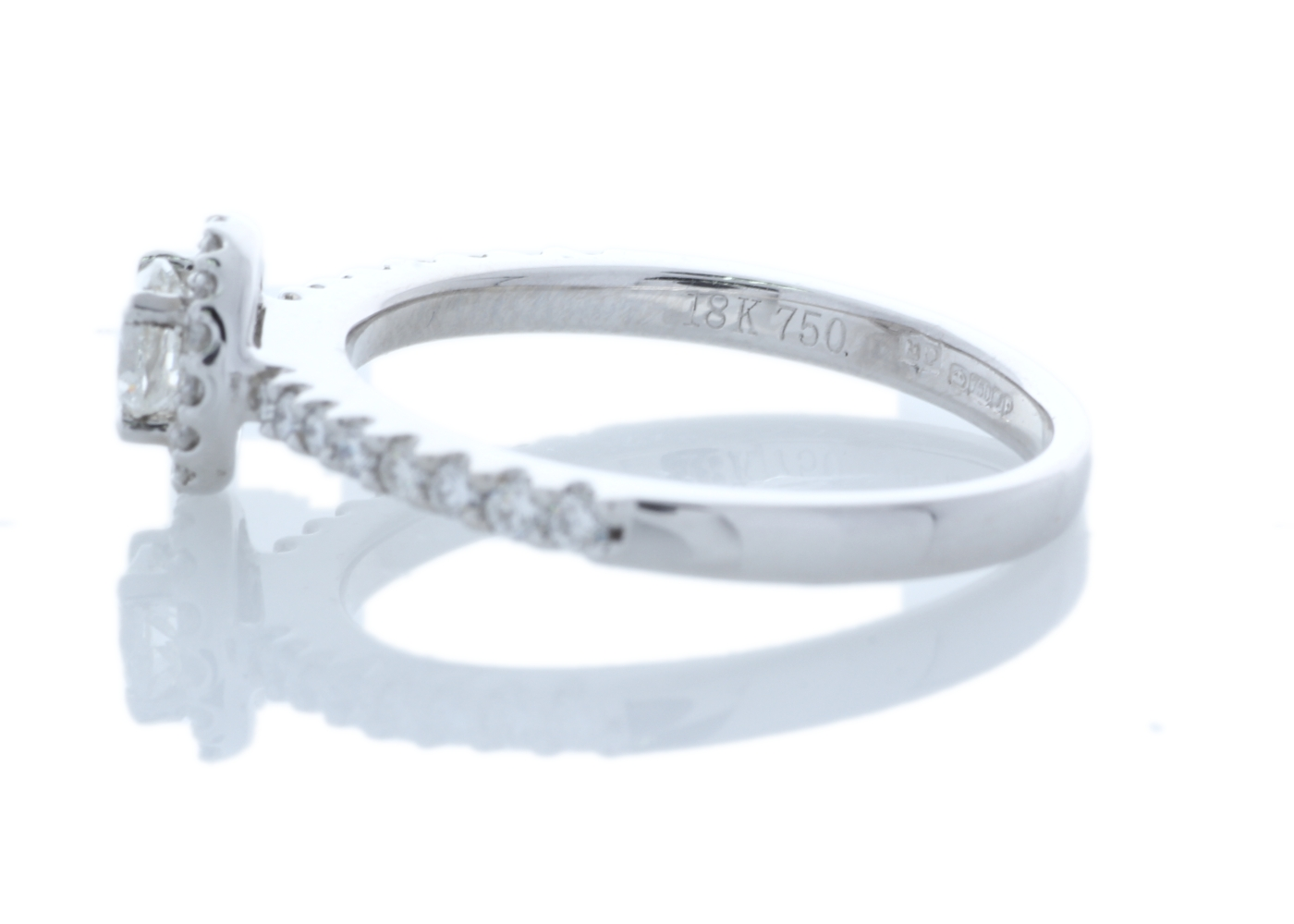Lot 29 - 18ct White Gold Halo Set Ring 0.63 Carats