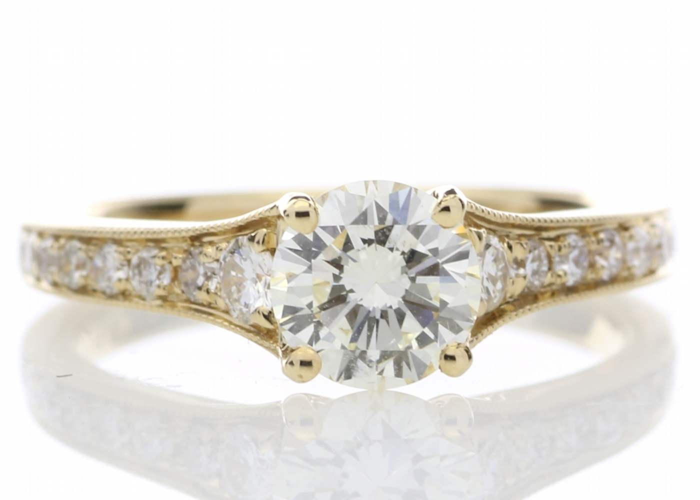 Lot 8 - 18ct Yellow Gold Diamond Ring With Stone Set Shoulders 1.06 Carats